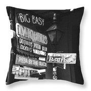 Neon Sign On Bourbon Street Corner French Quarter New Orleans Black And White Film Grain Digital Art Throw Pillow