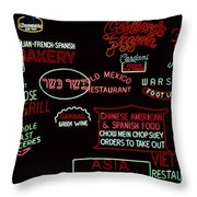 Neon Signs, 1937-1971 Throw Pillow by Granger