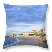 Nerja Beach On Costa Del Sol Throw Pillow