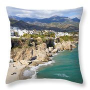 Nerja Town On Costa Del Sol In Spain Throw Pillow