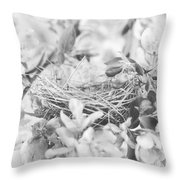 Nest In Black And White Throw Pillow