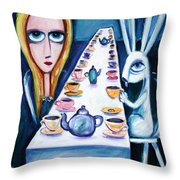 Never Ending Tea Party Throw Pillow by Leanne Wilkes
