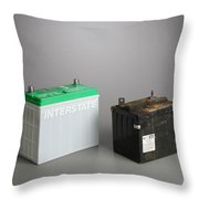 New & Old Automotive Battery Throw Pillow