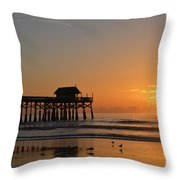 New Day On The Beach Throw Pillow