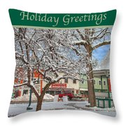 New England Christmas Throw Pillow by Joann Vitali