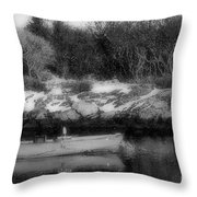 New England Skiff Bw Throw Pillow