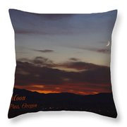 New Moon Over Grants Pass With Text Throw Pillow