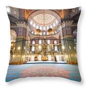 New Mosque Interior In Istanbul Throw Pillow