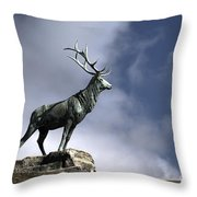 New Orleans Stag Statue Throw Pillow