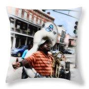 New Orleans Street Musician - Tuba Man Throw Pillow