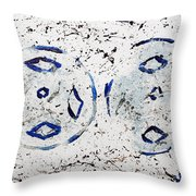 New Year Rolls Around With Abstracted Splatters In Blue Silver White Representing Snow Excitement Throw Pillow
