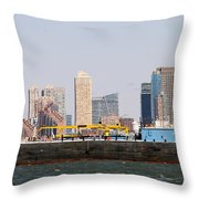 New York And The Barge Throw Pillow