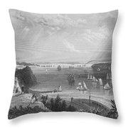 New York Bay, 1838 Throw Pillow