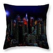 New York By Moonlight Throw Pillow