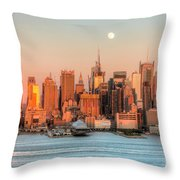 New York City Moonrise IIi Throw Pillow