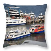New York City Sightseeing Boats Throw Pillow