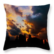 New York City Skyline At Sunset Under Clouds Throw Pillow