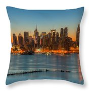 New York City Skyline Morning Twilight IIi Throw Pillow