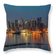 New York City Skyline Morning Twilight Xi Throw Pillow