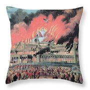 New York Crystal Palace Fire, 1858 Throw Pillow by Photo Researchers