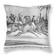 New York: Horse Race, 1845 Throw Pillow