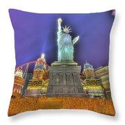 New York In Las Vegas Throw Pillow by Nicholas  Grunas