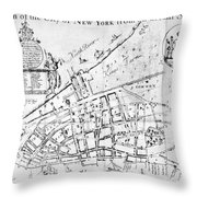 New York Map, 1730 Throw Pillow