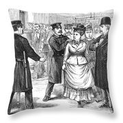 New York Police Raid, 1875 Throw Pillow
