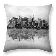 New York Skyline Reflected Throw Pillow