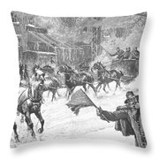 New York: Snowstorm, 1887 Throw Pillow
