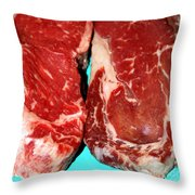 New York Steak Raw Throw Pillow