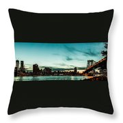 New Yorks Skyline At Night Ice 1 Throw Pillow by Hannes Cmarits