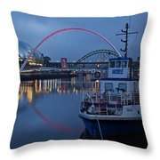 Newcastle Quayside At Night Throw Pillow