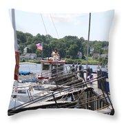 Newport Vermont Marina Throw Pillow
