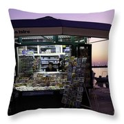 Newsstand In Croatia Throw Pillow