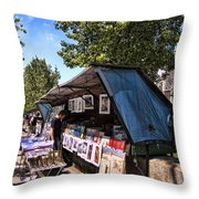 Newstand Along The Seine Throw Pillow