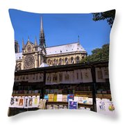 Newstand Next To Notre Dame Throw Pillow