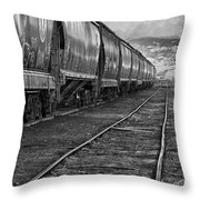Next Tracks In Black And White Throw Pillow