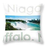 Niagara Falls Day Panorama Throw Pillow