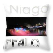 Niagara Falls Postcard Throw Pillow