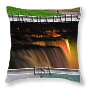 Niagara Falls Usa Triptych Series With Text Throw Pillow
