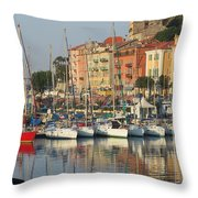 Nice Harbor Red Boat Throw Pillow