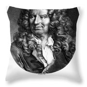 Nicolas Boileau (1636-1711). French Critic And Poet. Lithograph, French, 19th Century Throw Pillow