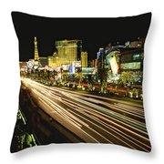 Night Exposure Of The Strip On Las Throw Pillow