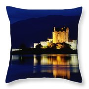 Night Falls On Eilean Donan Castle - D002114 Throw Pillow