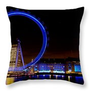 Night Image Of The London Eye And River Thames Throw Pillow