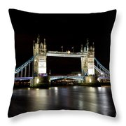 Night Image Of The River Thames And Tower Bridge Throw Pillow