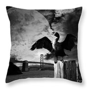Night Of The Cormorant . Black And White Throw Pillow