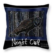 Night Owl Poster - Digital Art Throw Pillow