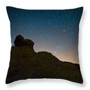 Night Sky Over Valley Of Fire Throw Pillow